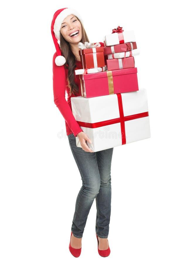 De vrouw van Kerstmis het winkelen geïsoleerdet giften - royalty-vrije stock fotografie