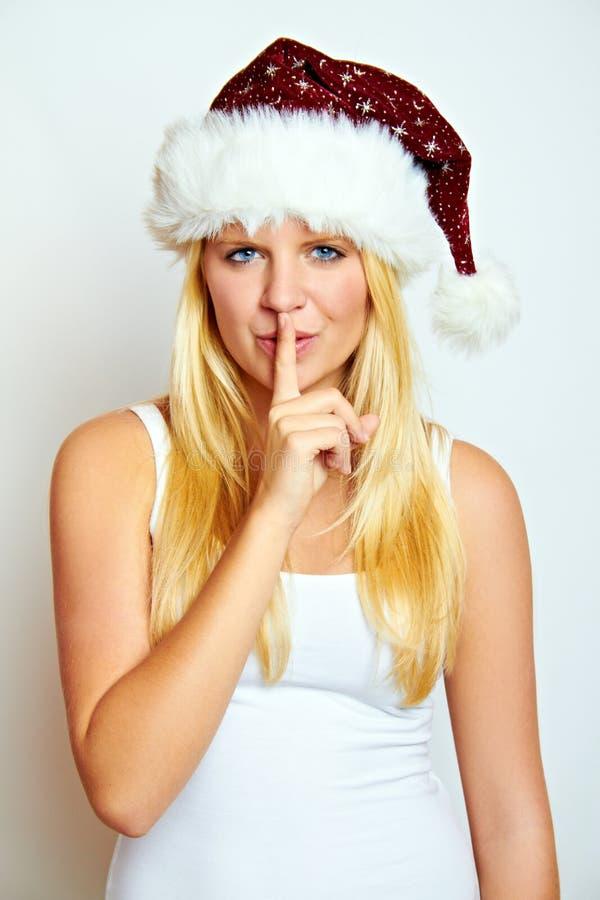 De vrouw van Kerstmis met een geheim royalty-vrije stock foto