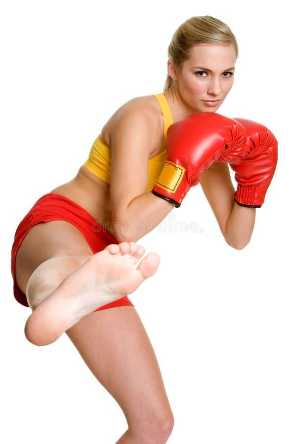 De Vrouw van Kickboxing royalty-vrije stock afbeeldingen
