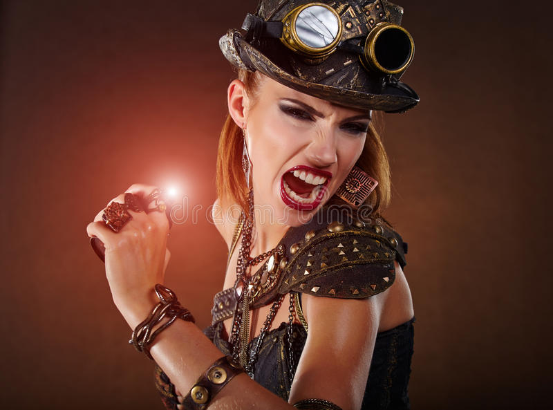De Vrouw van Steampunk Fantasiemanier stock foto
