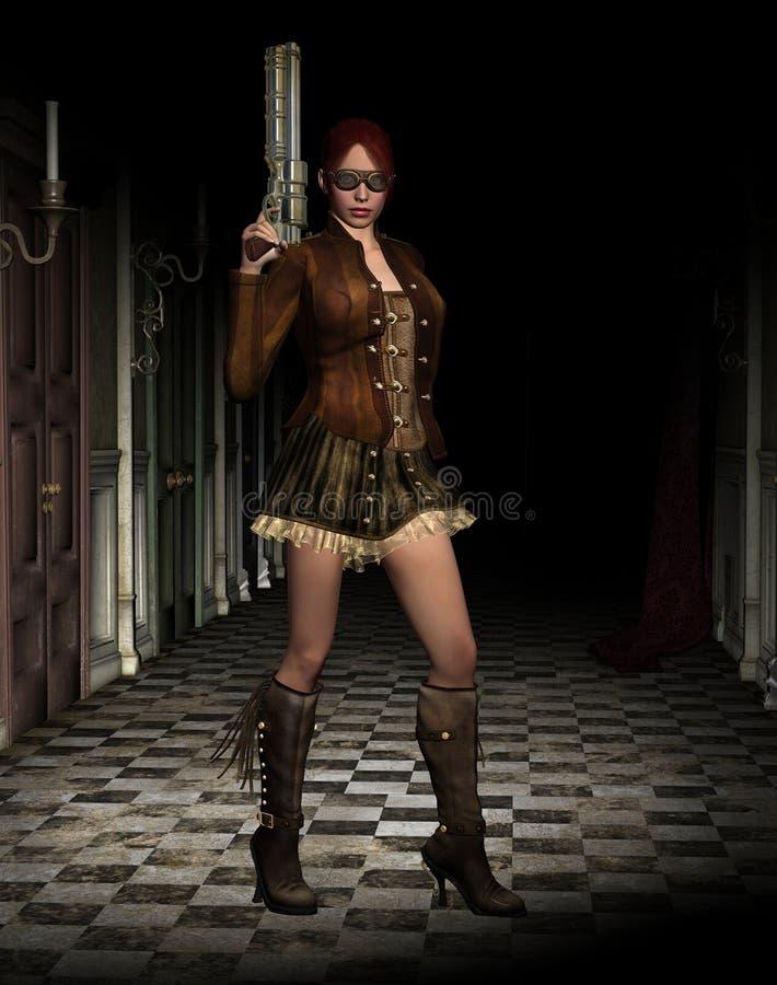 De vrouw van Steampunk met kanon royalty-vrije illustratie