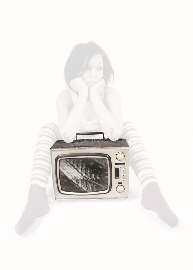 De vrouw van TV royalty-vrije stock afbeelding