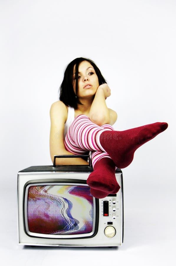 De vrouw van TV royalty-vrije stock foto's