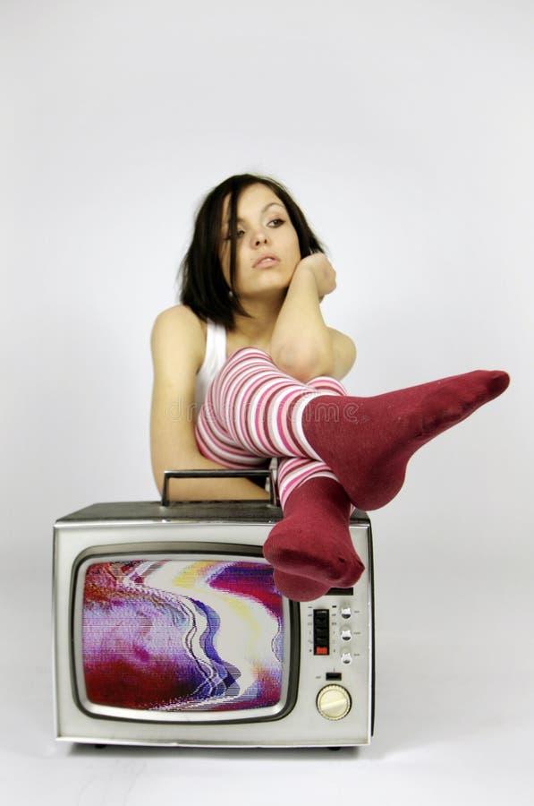 De vrouw van TV royalty-vrije stock foto