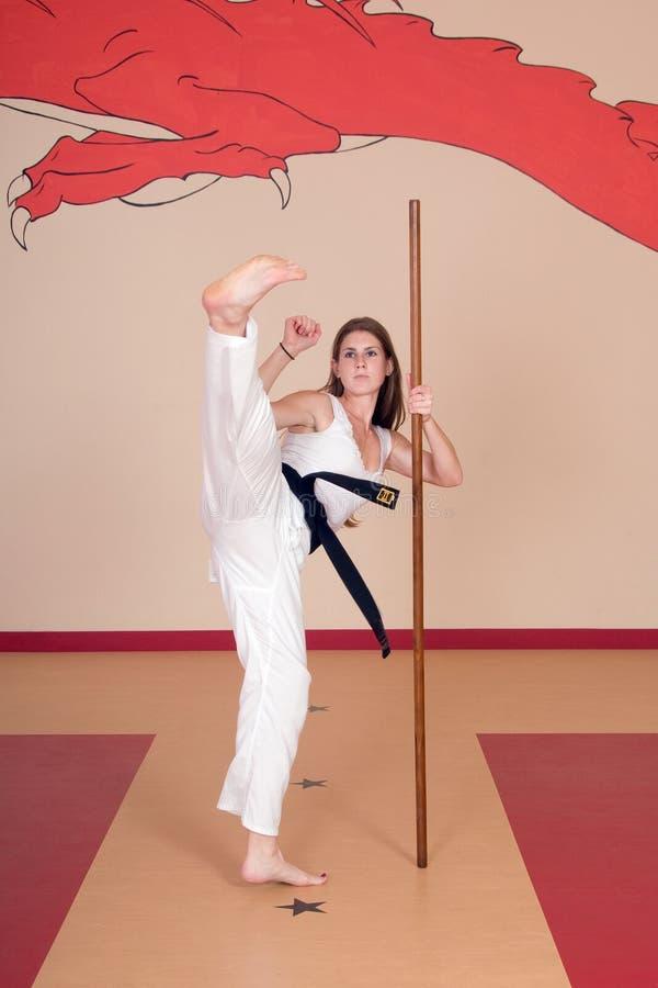Vechtsportenvrouw stock afbeelding