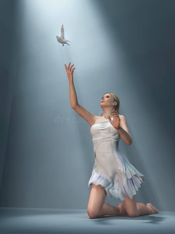 De vrouw verzendt witte duif royalty-vrije stock foto's