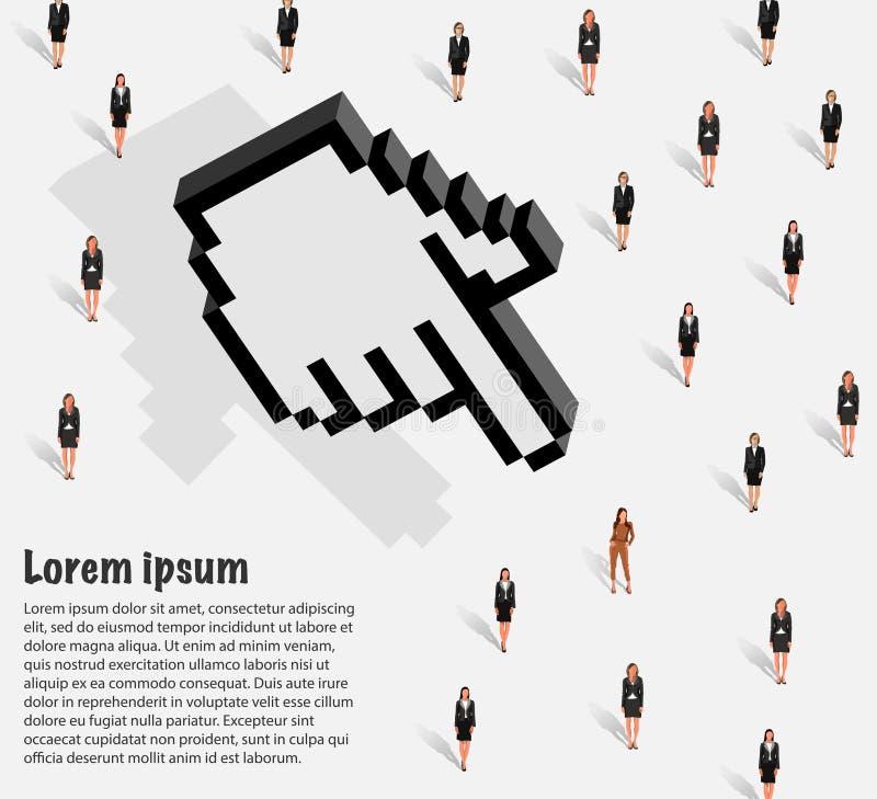 De vrouw voor het project wordt geselecteerd dat vector illustratie