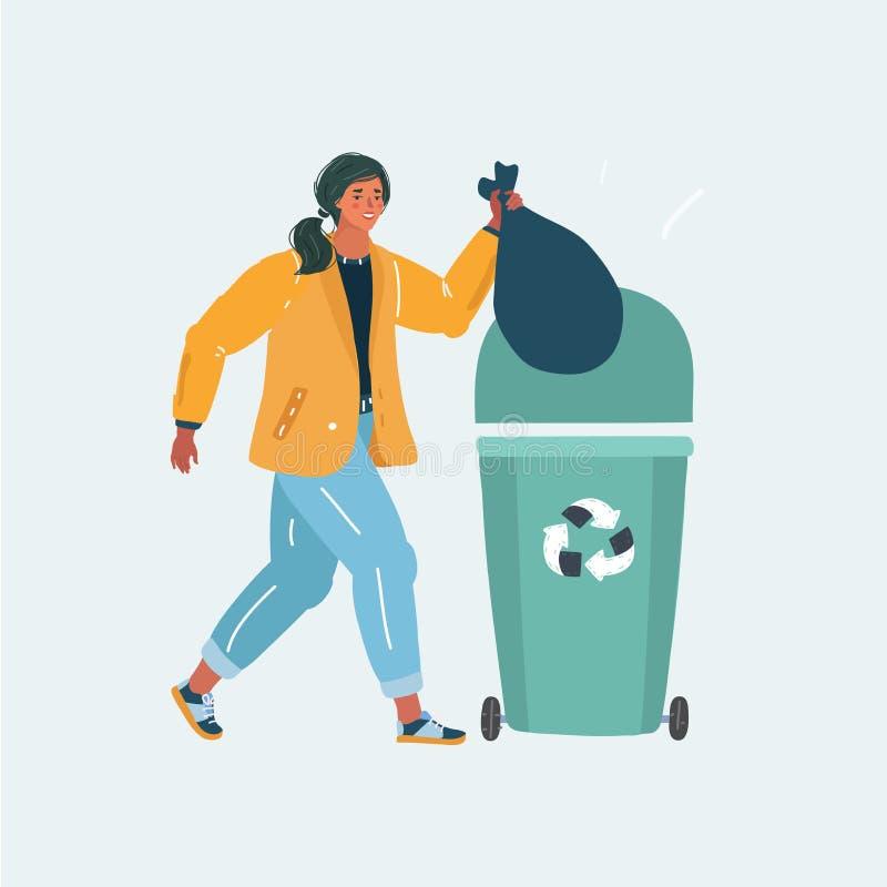 De vrouw werpt weg organisch huisvuil in container vector illustratie