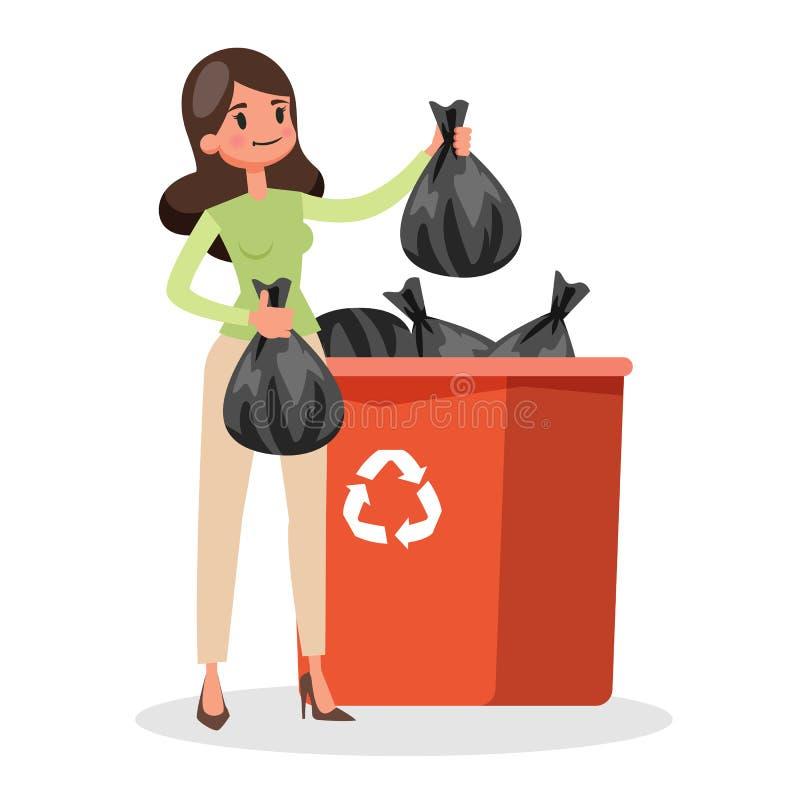 De vrouw werpt zak met huisvuil in een afvalbak royalty-vrije illustratie