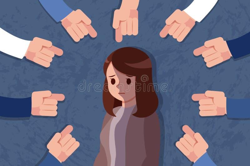 De vrouw wordt geïntimideerd vector illustratie