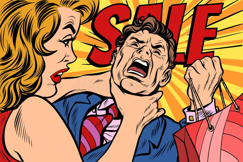 De vrouw wurgt echtgenoot, het winkelen en verkoop stock illustratie