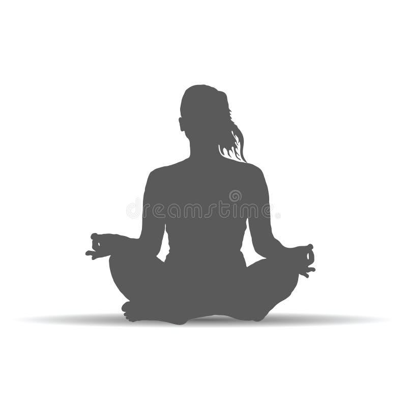 De vrouw in yoga stelt de vector van de silhouetkunst stock illustratie
