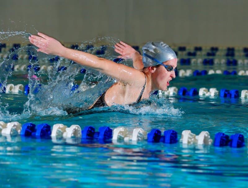 De vrouw zwemt gebruikend de vlinderslag royalty-vrije stock foto