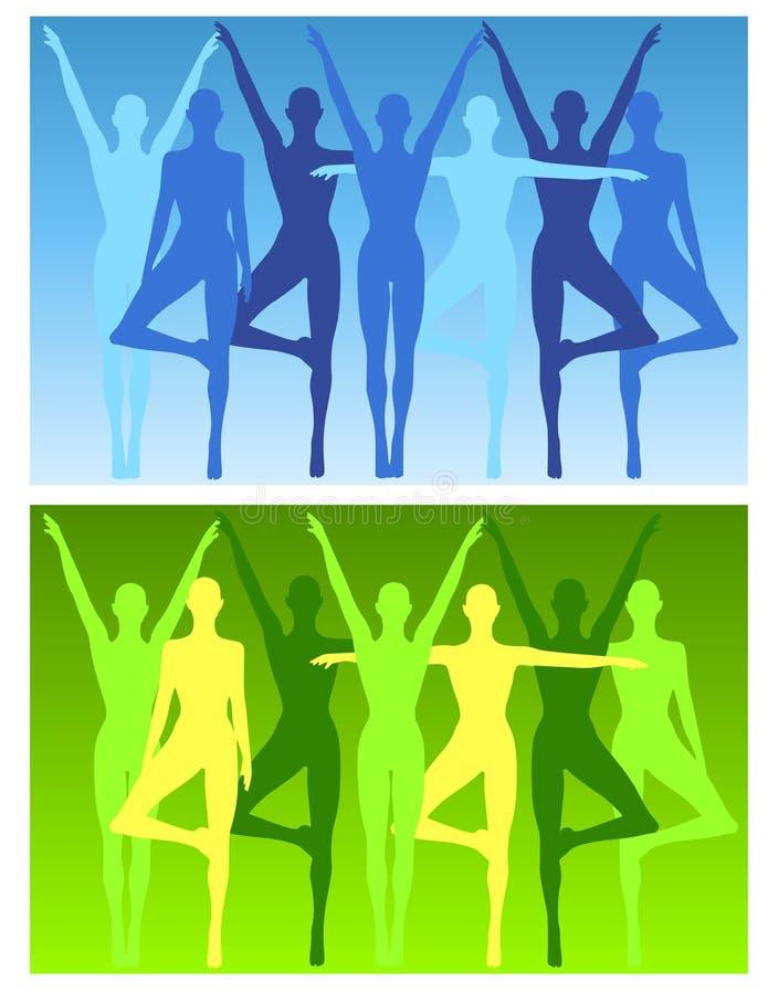 De Vrouwelijke Achtergronden van de Geschiktheid van de yoga royalty-vrije illustratie