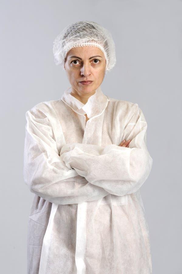De vrouwelijke arbeider van de voedselfabriek stock fotografie