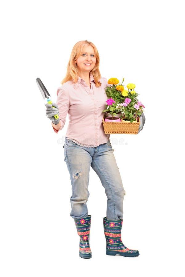 De vrouwelijke bloemen van de tuinmanholding en het tuinieren apparatuur stock afbeelding