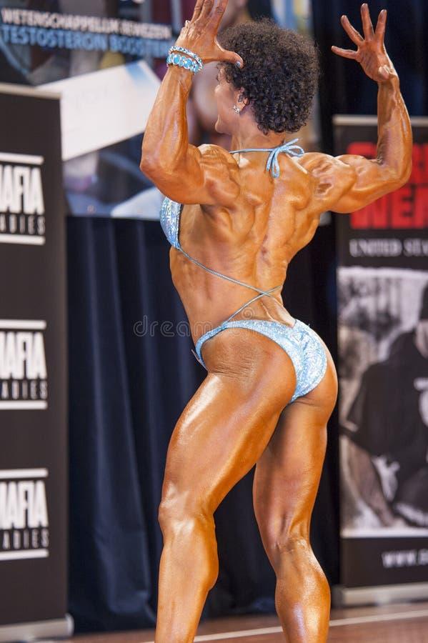 De vrouwelijke bodybuilder in achter dubbele bicepsen stelt en blauwe bikini stock foto
