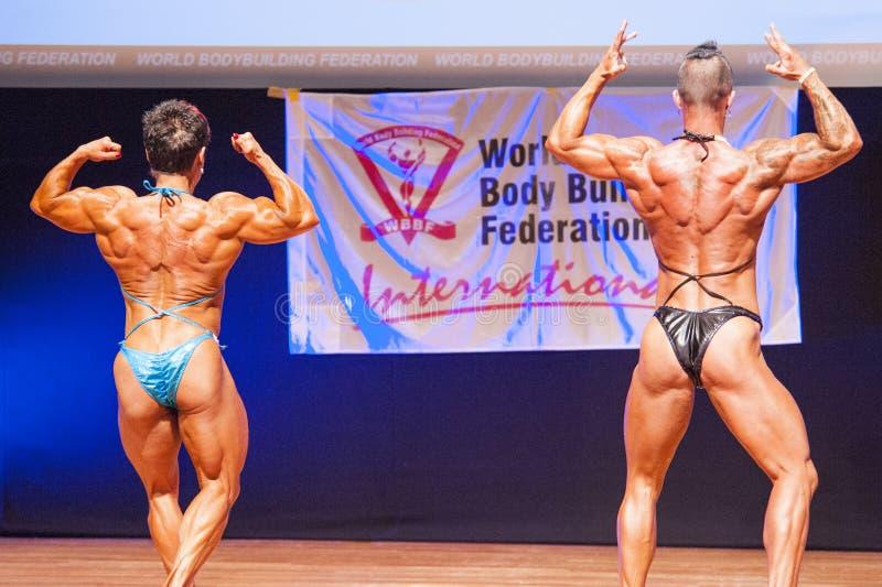 De vrouwelijke bodybuilders buigen hun spieren om hun lichaamsbouw te tonen stock afbeelding