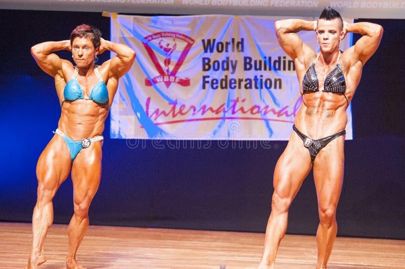 De vrouwelijke bodybuilders buigen hun spieren om hun lichaamsbouw te tonen stock foto