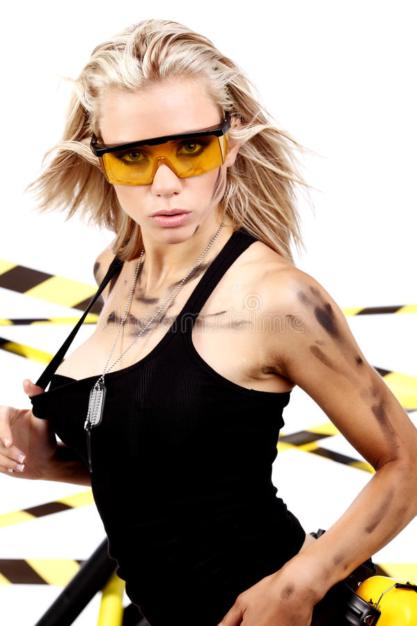 De vrouwelijke bouwvakker van de blonde stock foto