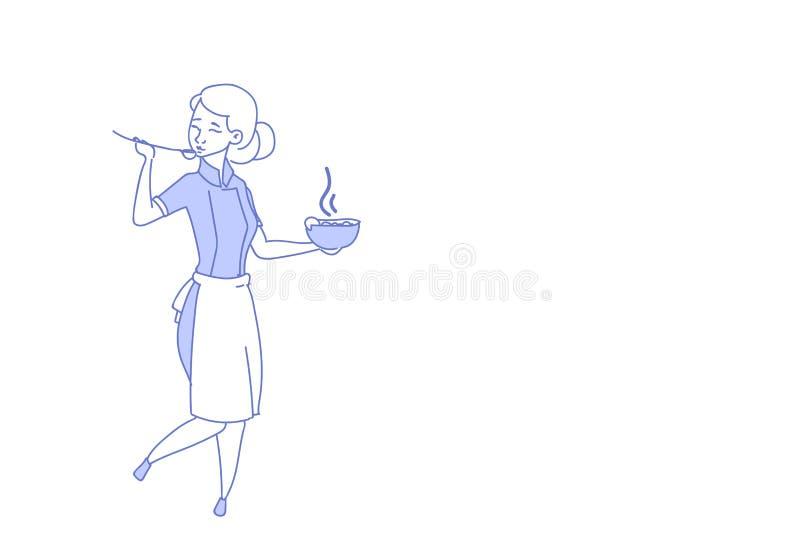 De vrouwelijke chef-kokkok het proeven het restaurant eenvormige voedsel van de soepvrouw belangrijkste het koken krabbel van de  vector illustratie