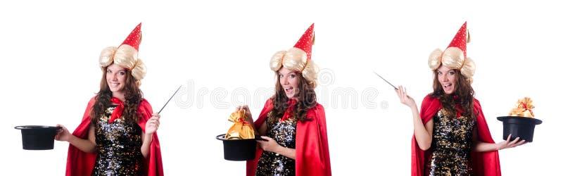 De vrouwelijke die tovenaar op wit wordt geïsoleerd royalty-vrije stock foto