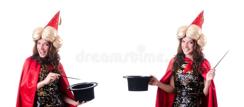 De vrouwelijke die tovenaar op wit wordt geïsoleerd stock foto's