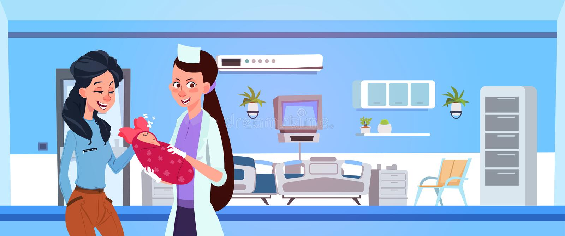 De vrouwelijke Gelukkige Moeder van Medische Artsengive newborn to in het Ziekenhuisafdeling vector illustratie