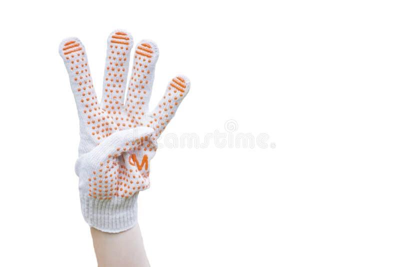 De vrouwelijke hand toont vier die vingers op witte achtergrond worden geïsoleerd royalty-vrije stock afbeelding