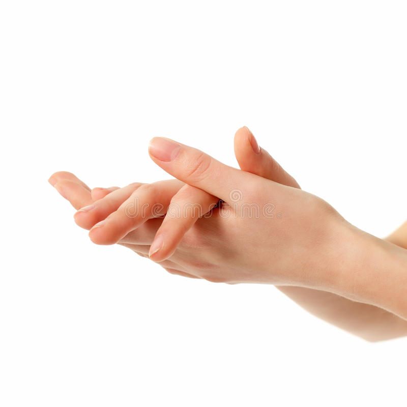 De vrouwelijke handen van het applaus die op wit worden geïsoleerd? royalty-vrije stock afbeelding