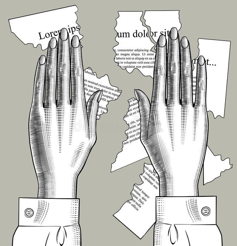 De vrouwelijke handenpalmen sluiten aan zich neer bij delen van gescheurde document stukken met tex stock illustratie