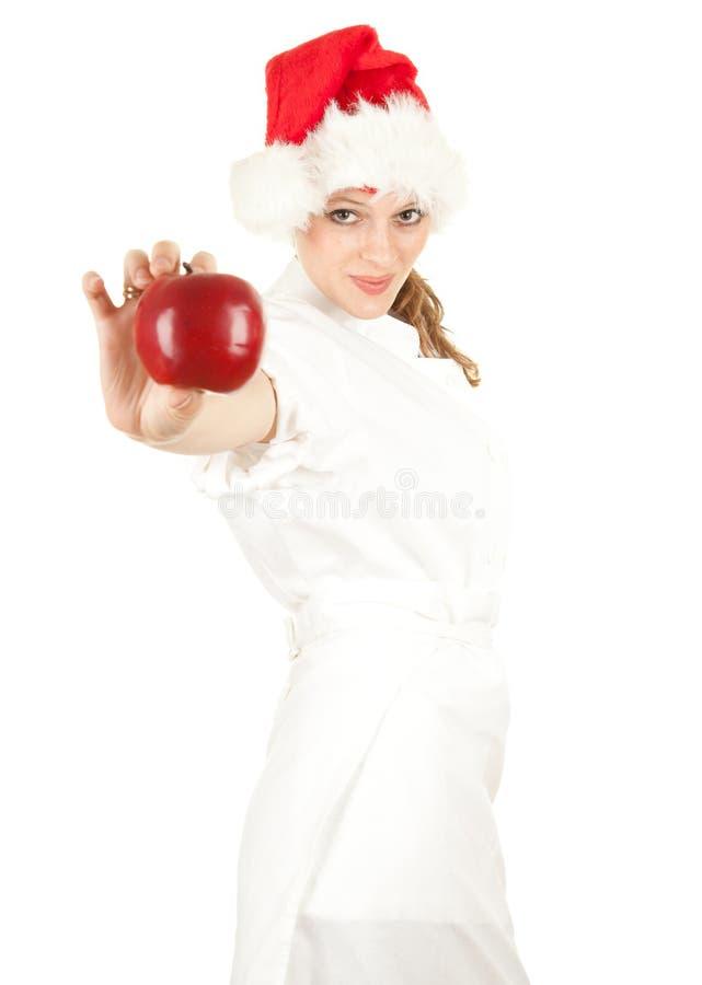 De vrouwelijke kok van de kerstman royalty-vrije stock foto's