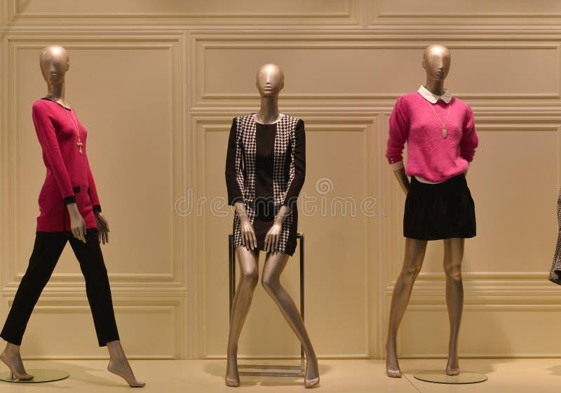 de vrouwelijke ledenpoppen in een manierkleding winkelen venster stock foto