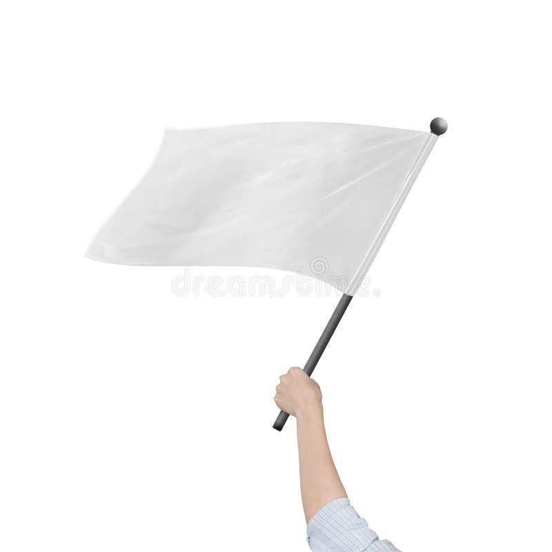 De vrouwelijke lege die witte vlag van de handholding op wit wordt geïsoleerd stock foto