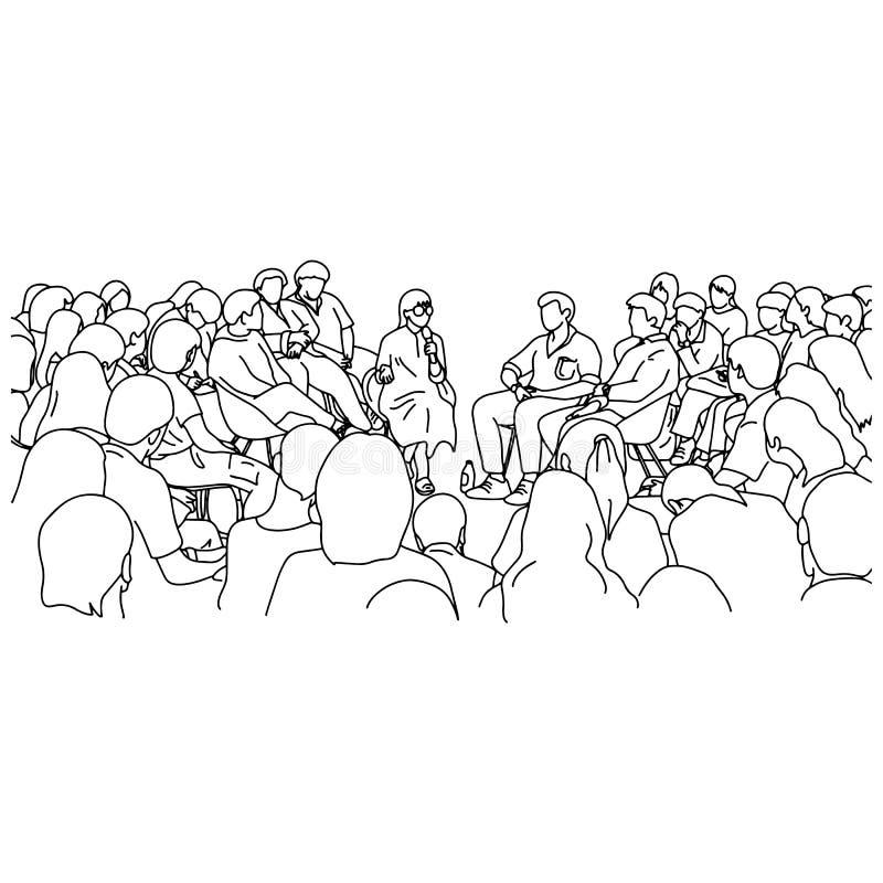 De vrouwelijke leraar en de studenten in de krabbel van de de illustratieschets van de lezingszaal vector overhandigen getrokken  stock illustratie