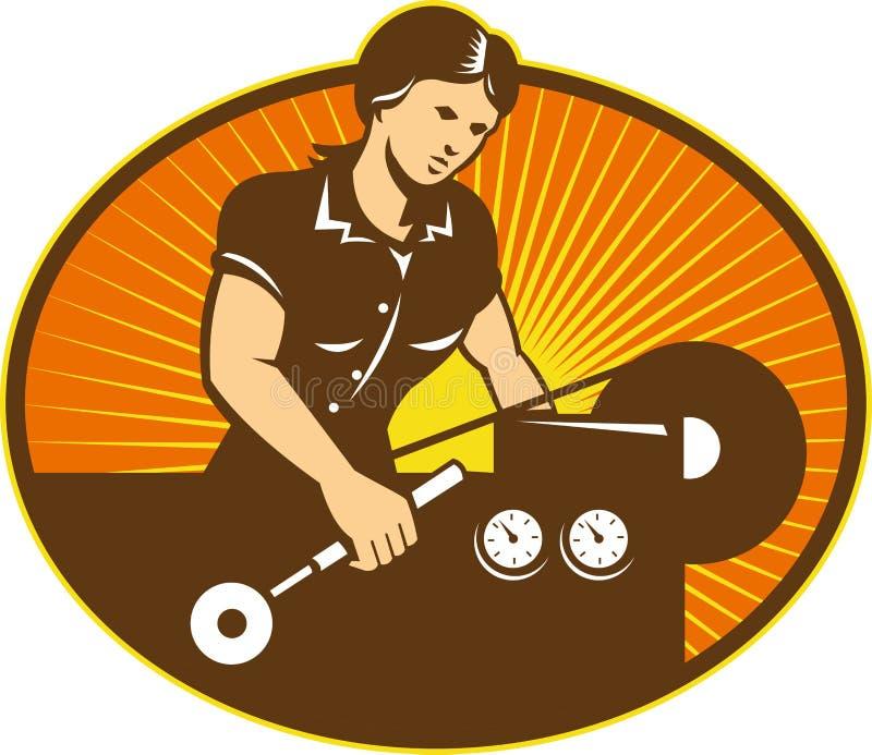 De vrouwelijke Machine van de Draaibank van de Arbeider van de Machinist vector illustratie