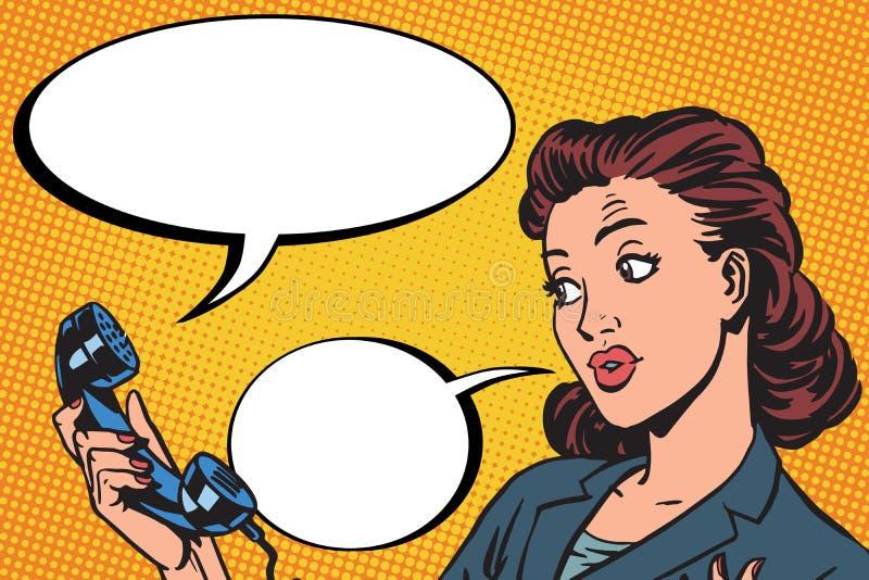 De vrouwelijke mededeling van het telefoongesprek stock illustratie
