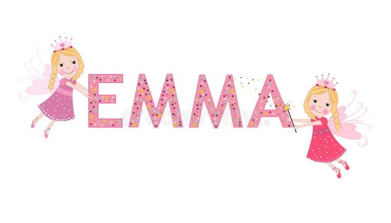 De vrouwelijke naam van Emma met leuke fee stock illustratie
