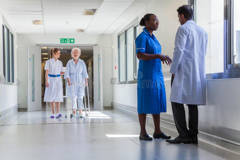 De Vrouwelijke Patiënt van verpleegstershelping elderly old in wi van de het Ziekenhuisgang stock fotografie