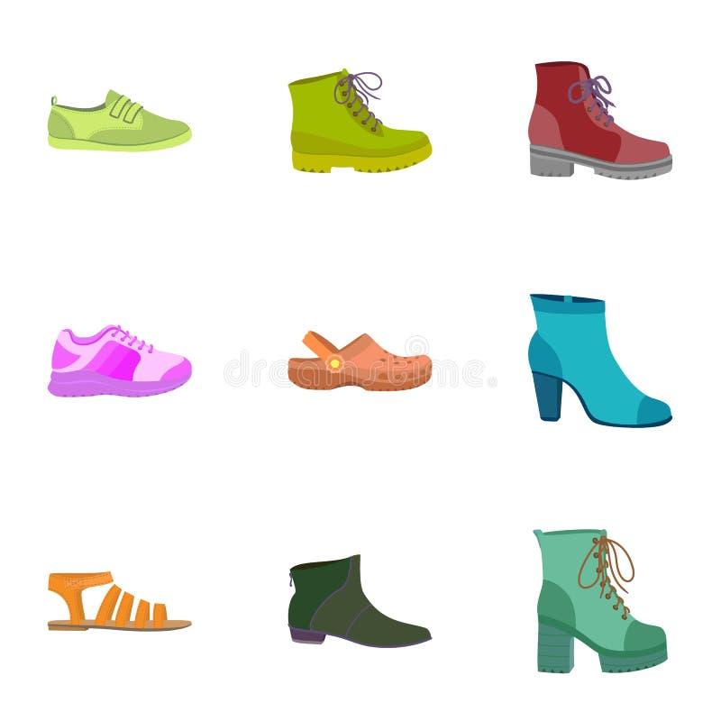 De vrouwelijke reeks van het schoenenpictogram, vlakke stijl stock illustratie
