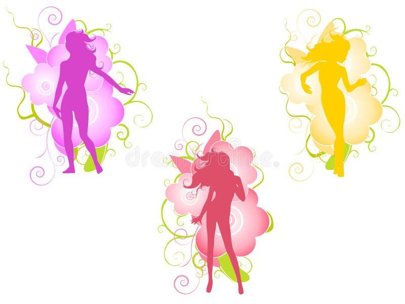 De vrouwelijke Silhouetten van het Ontwerp van de Bloem stock illustratie
