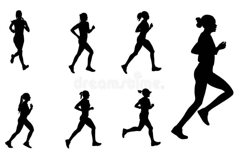 de vrouwelijke silhouetten van marathonagenten stock illustratie