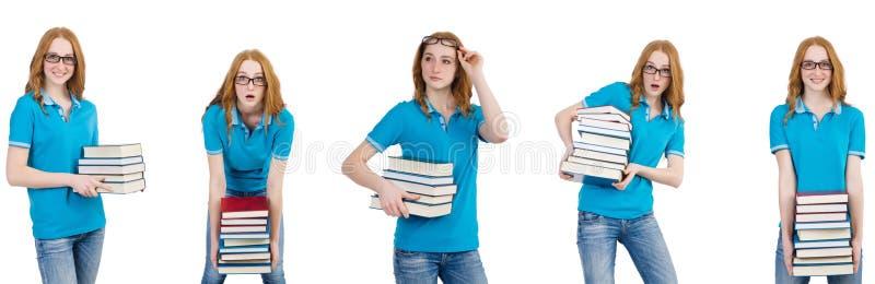 De vrouwelijke student met vele die boeken op wit wordt ge?soleerd royalty-vrije stock fotografie