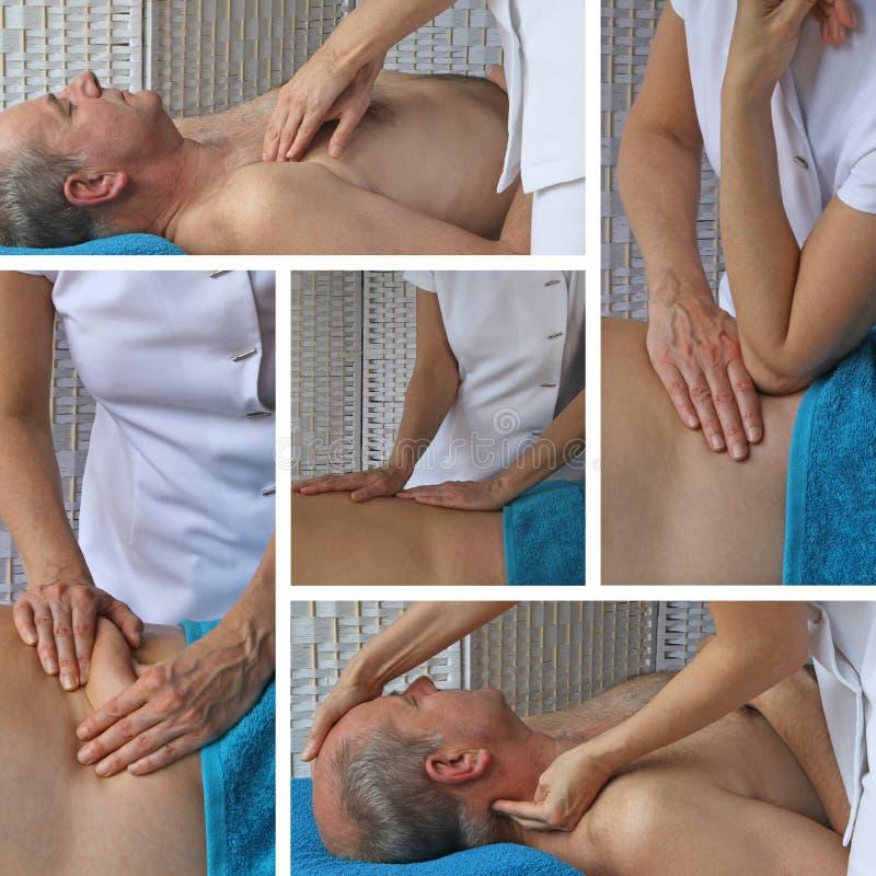 De vrouwelijke Therapeut Collage van de Sportenmassage royalty-vrije stock foto's