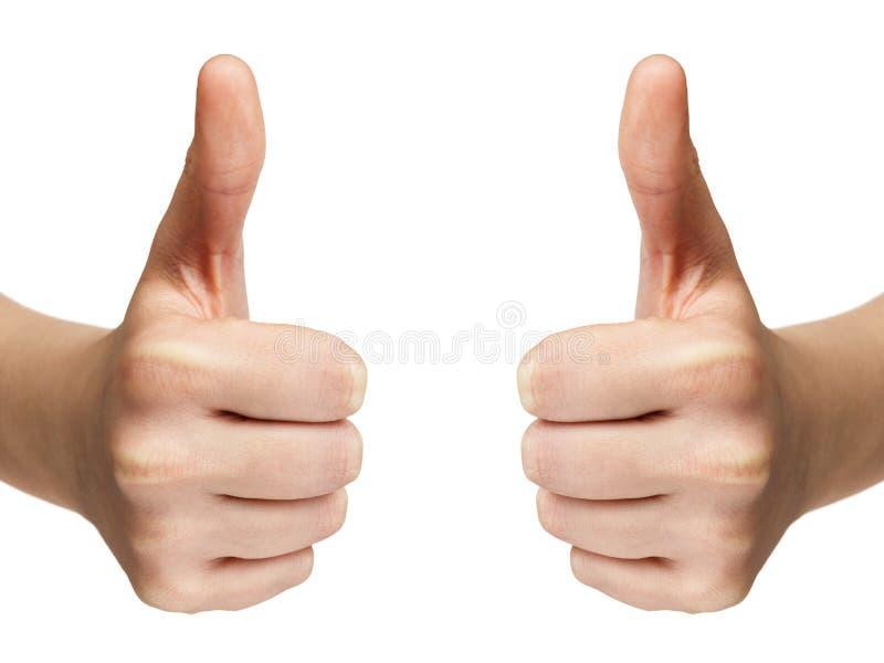 Download De Vrouwelijke Tiener Overhandigt Toont Duimen Stock Foto - Afbeelding bestaande uit geïsoleerd, expressing: 29505666