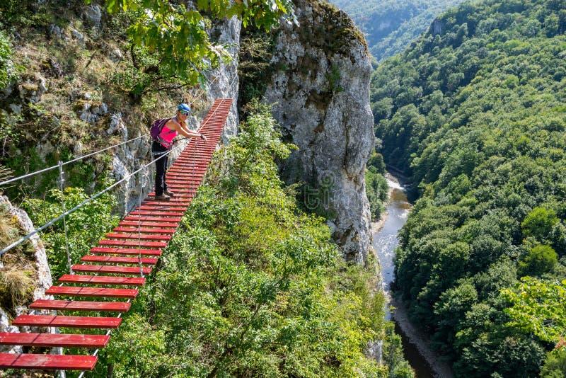 De vrouwelijke toerist op a via ferratabrug in Vadu Crisului, de bergen van Padurea Craiului, Roemenië, met Crisul Repede vervuil royalty-vrije stock foto