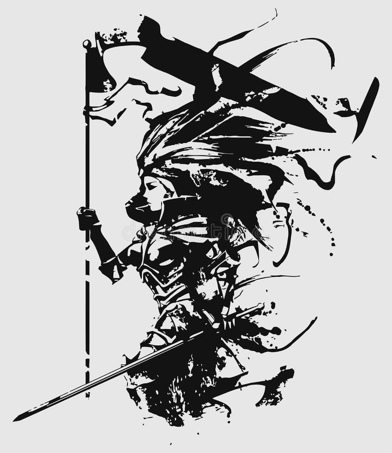 De vrouwelijke vlag van de ridderholding vector illustratie