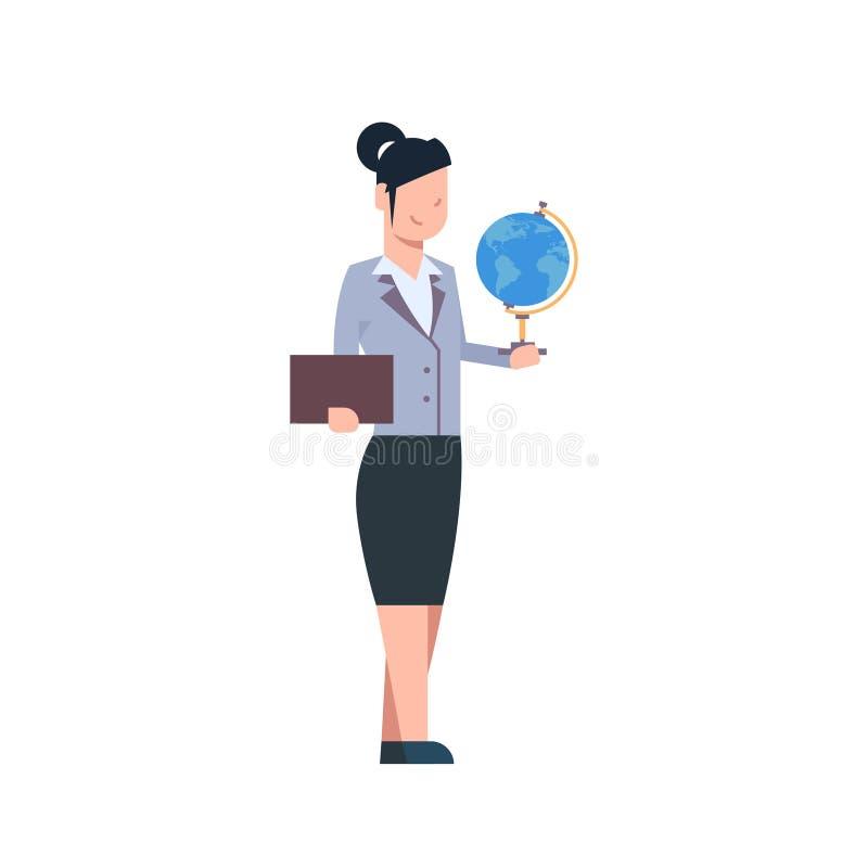 De vrouwelijke Vrouw van leraarsholding globe isolated over Witte Achtergrondschoolarbeider stock illustratie