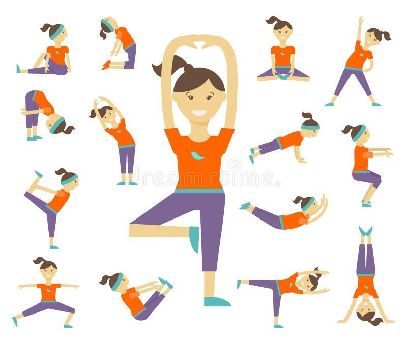 De vrouwelijke yoga stelt stock illustratie