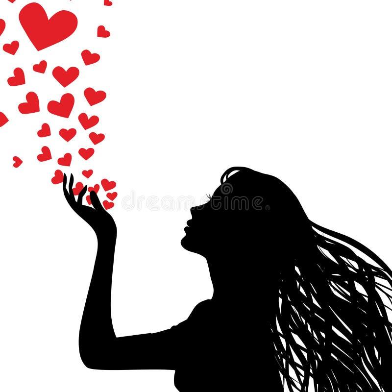 De vrouwen blazend hart van het silhouet stock illustratie